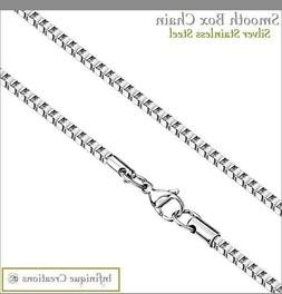 white gold color stainless steel box chain