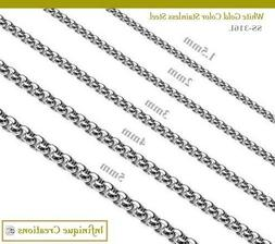 Men Women Stainless Steel Silver Round Box Chain Necklace Br